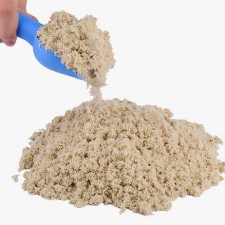 חול קינטי ומגש עם מכסה לאחסון