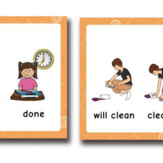 משחק קלפים ללימוד זמנים באנגלית