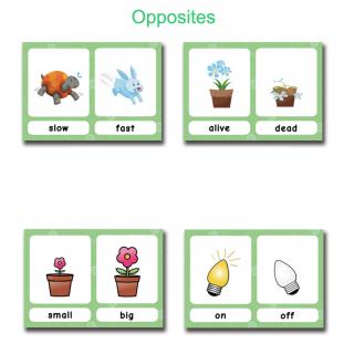קלפים לתרגול הפכים באנגלית Opposites
