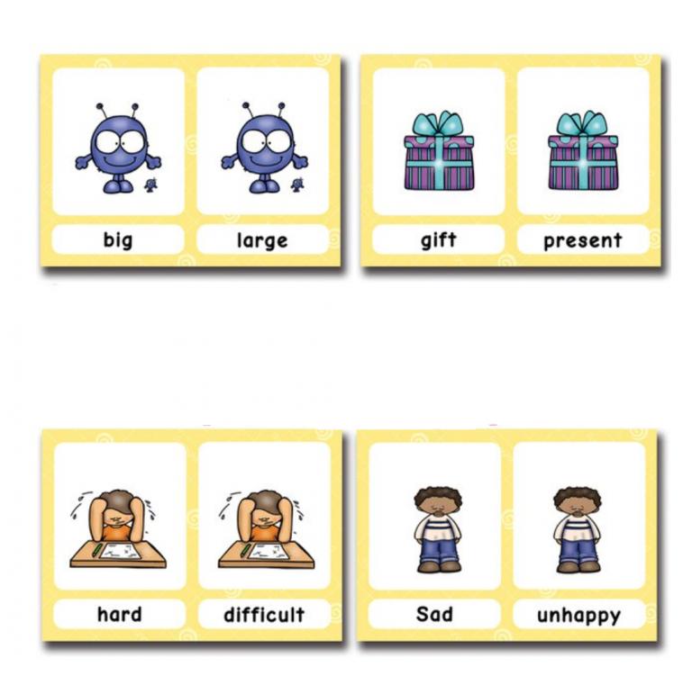 קלפים לתרגול מילים נרדפות  Synonyms