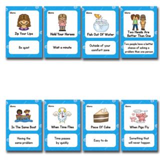 קלפים לתרגול ניבים באנגלית idioms